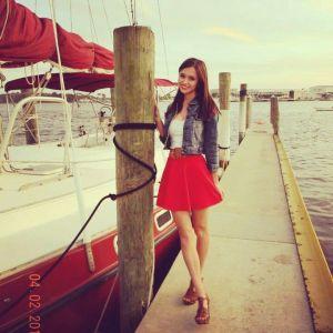 ootd, cheery red skirt