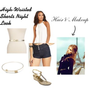 high waisted shorts night look, styledbysteph96