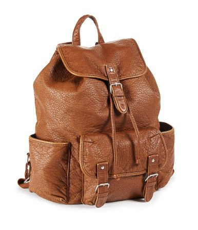 brown leather backpack from aeropostale