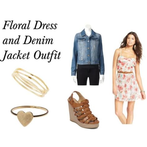 floral dress and denim jacket polyvore