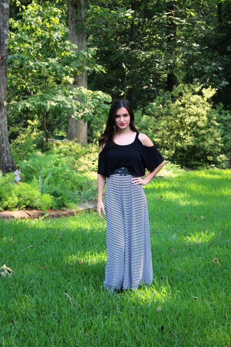 ootd maxi dress standing in yard