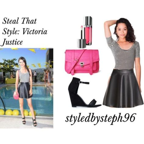 steal that style, victoria justice, faux leather skirt, bodysuit, styledbysteph96