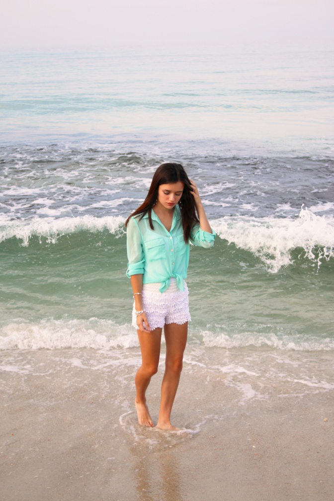 OOTD: Mint Top and Crochet Shorts