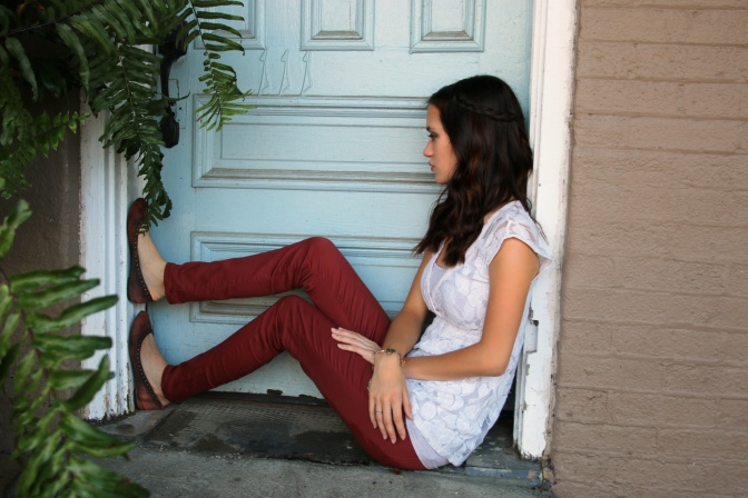 OOTD: Rust Jeggings and CreamTop