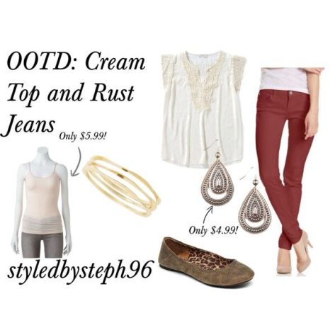polyvore cream top and rust jeans ootd