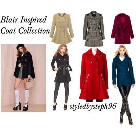 blair waldorf inspired coats, styledbysteph96, gossip girl fashion, pinterest
