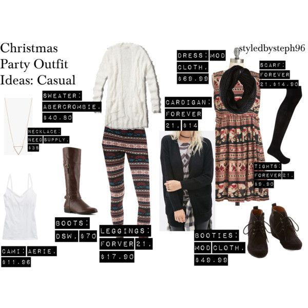 casual christmas party outfits,polyvore, styledbysteph96, dress, printed  leggings - Christmas Party Outfit Ideas Stephanie Rehberg