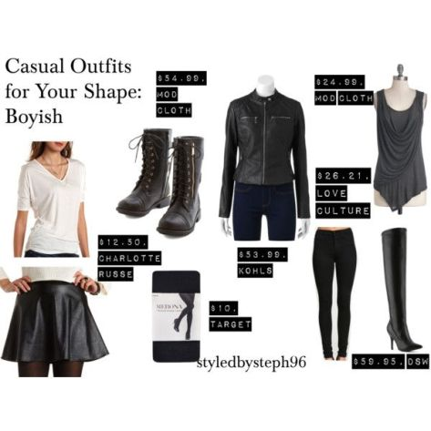 casual outfit for boyish figure, skater skirt, polyvore, styledbysteph96, mod cloth