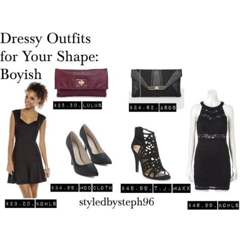 outfits for boyish figures, kiera knightly, dressy, formal, lbd, styledbysteph96, polyvore