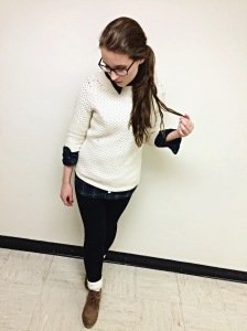 sweater and plaid shirt, boots, layers, styledbysteph96, wordsandlace, class act