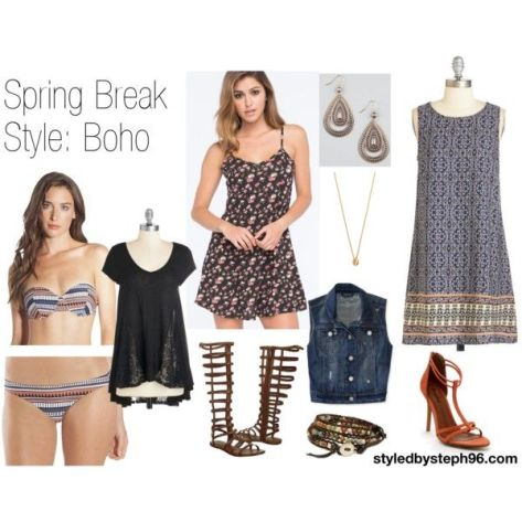 spring break style, styledbysteph96, boho, bohemian, bikini, swimwear, casual, dressy