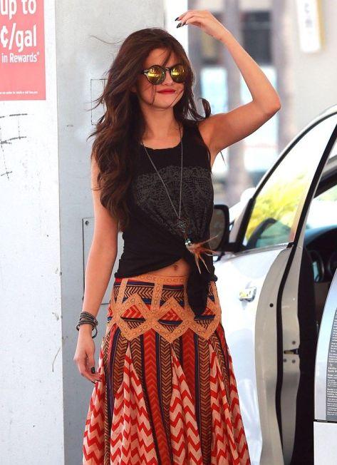 selena gomez, boho, maxi skirt, styledbysteph96, spring outfits